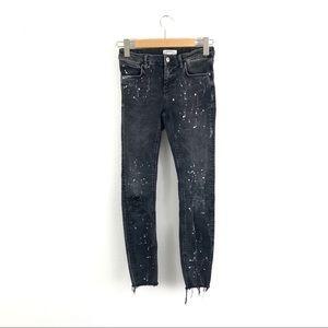 Zara Woman Black Paint Splatter Rip Skinny Jeans